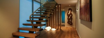 Architectural engineering wood, glass and steel staircase